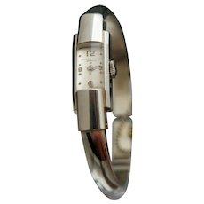 "Baume & Mercier - ""the Marquise"" 18k Spring Bangle Watch Bracelet"