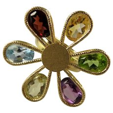 Flower Power! 14k Multi-Gem Flower Ring