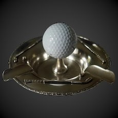 """Sterling Silver """"Hole in One"""" Golf Ashtray"""