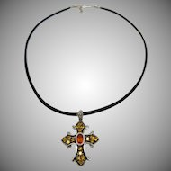 14k White Gold Multi-stone Cross with Leather Cord/14k Findings