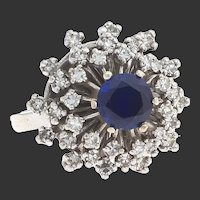 Burst of Blue!  Gorgeous Sapphire (man-made) and diamond ring