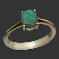 Ring of Fire - 14k Boulder Opal Solitaire