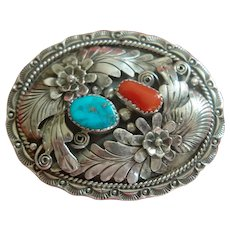 Kenny Guerro Navajo Sterling/Turquoise/Coral Belt Buckle