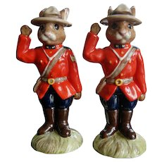 Royal Doulton Limited Edition Sergeant Mountie & Mountie Bunnykins - DB136 & DB135
