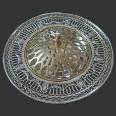 Timeless Elegance- Durgin Sterling Centerpiece Bowl w/ Brass Frog