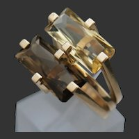 Jens Asby Danish MCM 14k Smoky Quartz/Citrine Ring