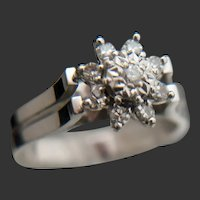 18k Palladium Diamond Illusion Floral Ring