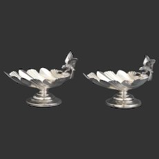 Pair of Sterling Acanthus Leaf and Bird Salt Cellars - Whiting Mfg. Co.