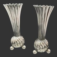 A Set of Charming Victorian Weighted Sterling Bud Vases