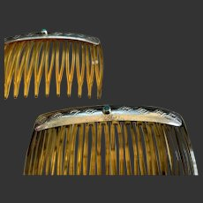 Navajo Sterling Turquoise Hair Combs - Set of Two