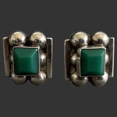 Vintage Early Mid-Century Sterling Mexican Screw-back Earrings