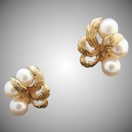 Dinner and dancing. 14k Cultured Pearl Clip Earrings