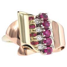 Back, better than ever. 14k Rose Gold Ruby Diamond Ring