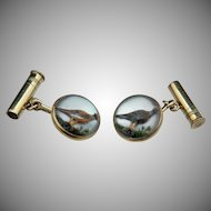 Essex Crystal 14k Pheasant Shotgun Cufflinks