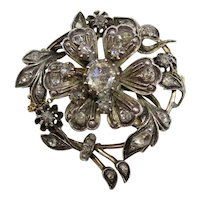Antique Georgian Era Silver Gold Old Cut Diamond Flower Wreath Brooch
