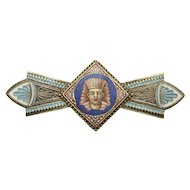 Egyptian Revival Micromosaic and Enamel 14K Gold Pharaoh Brooch Pin