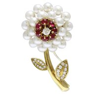 Vintage Akoya Pearl Ruby and Diamond Daisy Flower 18K Gold Brooch