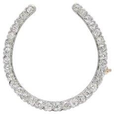 Edwardian Platinum and 2.5 Carat Diamond Horseshoe Brooch Pin