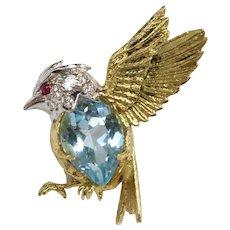 E. Wolfe & Co 18K Gold Diamond and Blue Topaz Bird Pin