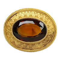 Large Victorian Etruscan Revival 18K Gold and Madeira Citrine Brooch Pin