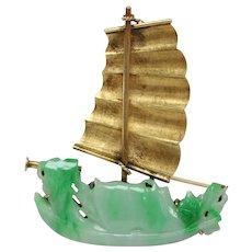 Vintage Carved Jadeite Jade Ship Sailboat 14K Gold Brooch