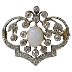 Edwardian Opal and Diamond Platinum 18K Gold Brooch Pin