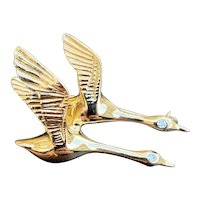 Vintage 14K Gold and Diamond Pair of Geese or Ducks Pin Brooch