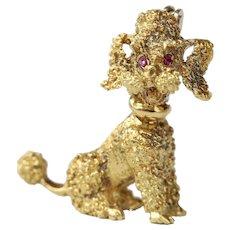 Vintage 18K Gold Poodle Dog Brooch Pin