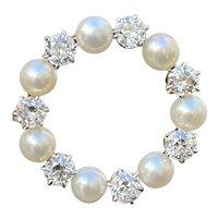 Vintage 1.75 Carat Diamond and Pearl 18K Gold and Platinum Circle Pin