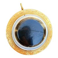 Victorian 18K Gold Large Bull's Eye Banded Agate Pendant, Antique Brooch