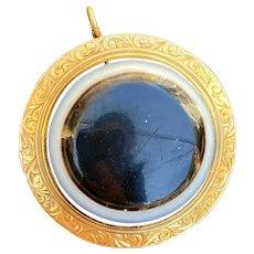 Victorian 18K Gold Large Bull's Eye Banded Agate Pendant, Brooch