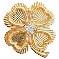 Vintage 14K Gold and Diamond Radiant Four Leaf Clover Heart Pin, Brooch