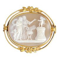 Victorian 18K Gold Putti Cherub Carved Shell Cameo Brooch, Pin