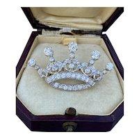 Edwardian 2.74 Carat Diamond, Platinum 18K Gold Crown Brooch, Pin
