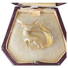 Vintage 14K Gold Abstract Sleek Fox Brooch, Animal Pin