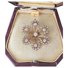 Victorian Diamonds and Split Pearl 14K Gold Forget Me Not Flower Pendant, Pin
