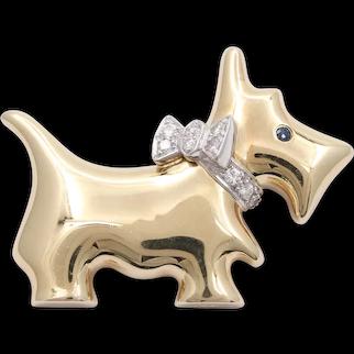 Vintage 14K Gold and Diamond Scottish Terrier Dog Pin, Animal Brooch