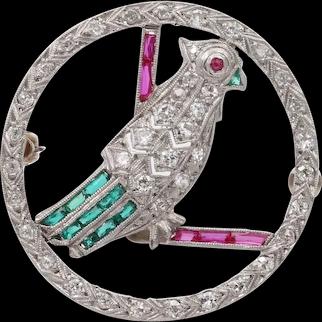 Art Deco Platinum, Diamond, Man Made Colored Stone Parrot Bird Brooch, Disc Pin