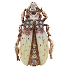 Victorian 14K Gold, Diamond, and Enamel Beetle Pin, Antique Brooch