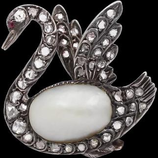 Victorian Rose Cut Diamond Pearl, Silver, Gold Swan Brooch, Antique Bird Pin