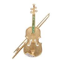 Vintage 18K Gold, Emerald, and Diamond Violin Brooch, Viola Pin, Pendant