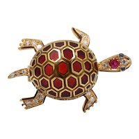 Vintage 18K Gold Plique a Jour Enamel Diamond and Ruby Turtle Brooch, Pin