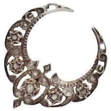 Antique French Victorian Silver and 18K Gold Diamond Crescent Brooch, Pin