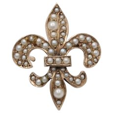 Victorian Riker Bros. 14K Gold and Split Pearl Fleur de Lis Pin, Fob Charm