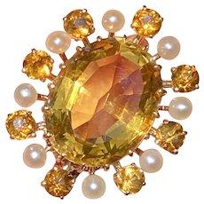 Antique 14K Gold Citrine and Pearl Sunburst Pin, Brooch