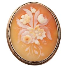 Vintage 10K Gold Shell Cameo of Bouquet of Flowers Brooch, Pin