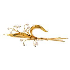 French Kirby 18K Gold and Pearl Lily of the Valley Brooch, Large Vintage Pin