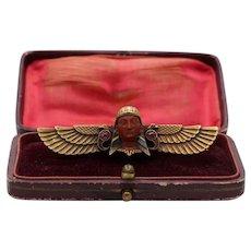 Art Nouveau 14K Gold Winged Pharaoh Snake Brooch, Egyptian Revival Antique Pin