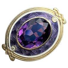 Art Nouveau Sloan & Co 14K Gold Enamel and Amethyst Evil Eye Brooch, Antique Fob Pin