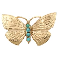 Vintage 14K Gold Turquoise Butterfly Pin, Brooch